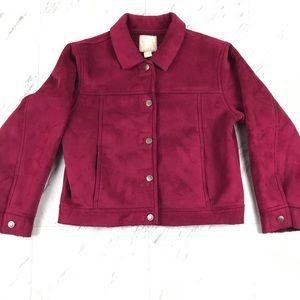 J. Jill Vegan Suede Faux Shearling Jacket Crop Red